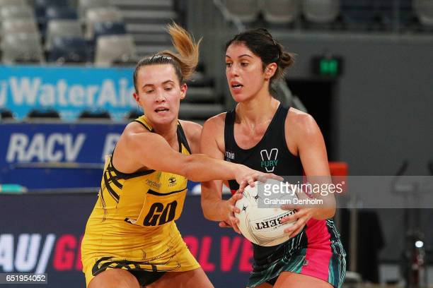 Stephanie Puopolo of the Fury in action during the round four ANL match between the Fury and the Sting at Hisense Arena on March 11 2017 in Melbourne...