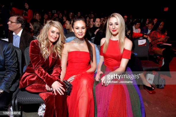 Stephanie Quayle Aida Garifullina and Chloe Lukasiak attend The American Heart Association's Go Red For Women Red Dress Collection 2019 Presented By...