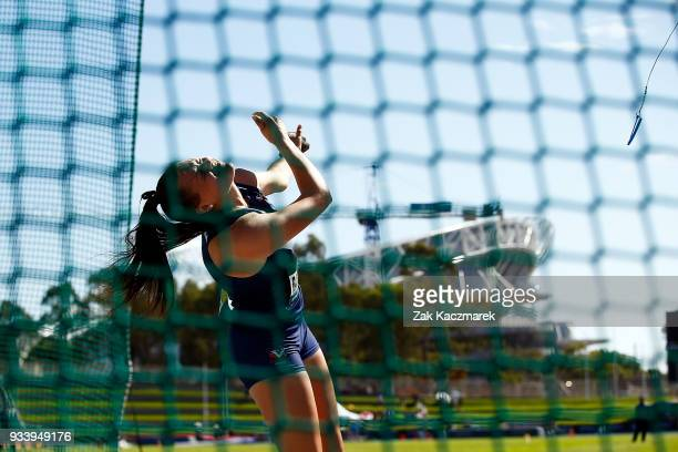 Stephanie Radcliffe of Victoria competes in the Women's Under 20 Hammer throw Final during day four of the Australian Junior Athletics Championships...