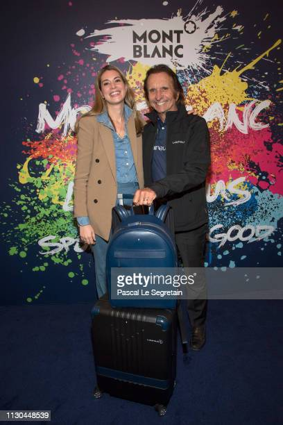 Stephanie Radl from Montblanc and Emerson Fittipaldi attend Montblanc X Laureus Sport For Good photocall at Hotel Hermitage during 2019 Laureus World...