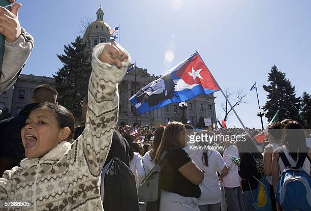 Stephanie Ramos participates in a rally of about 3000 middle and high school students who walked out of school April 19 2006 in Denver Colorado The...