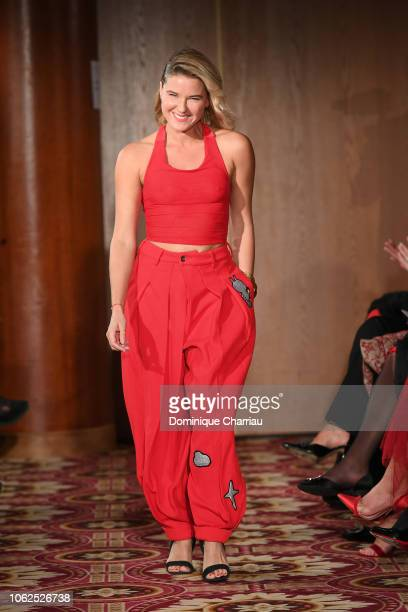 Stephanie Renouvin attends the Sauvez Le Coeur Des Femmes Red Defile Show At Hotel Marrriot In Paris on November 16 2018 in Paris France