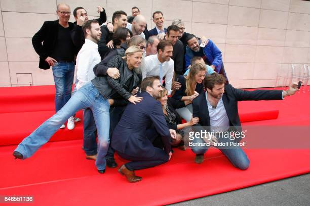 Stephanie Renouvin Francis Zegut Justine Salmon Gregory Ascher Eric JeanJean and team of RTL2 attend the RTL RTL2 Fun Radio Press Conference to...