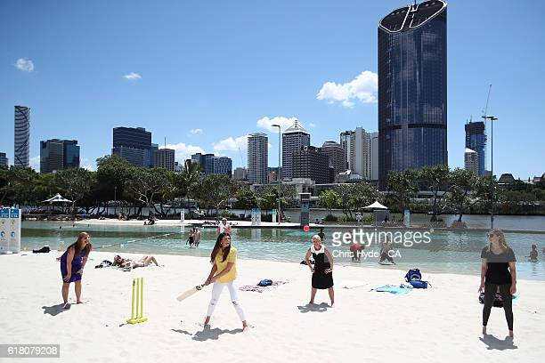 Stephanie Rice bats during a beach cricket match at Southbank during a Cricket Australia media opportunity to mark the 50 days countdown ahead of the...