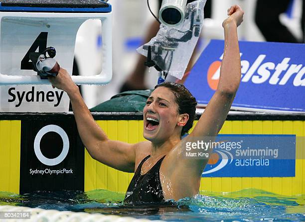 Stephanie Rice celebrates setting a world record of 43146 in the Women's 400m Individual Medley final during day one of the 2008 Australian...