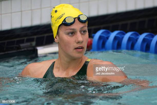 Stephanie Rice of Austrailia looks on after swimming in a preliminary heat of the 400m IM during the XLII Santa Clara International Invitational Swim...