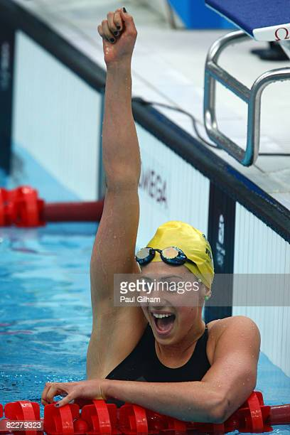 Stephanie Rice of Australia celebrates finishing the Women's 200m Individual Medley Final in first place at the National Aquatics Center on Day 5 of...