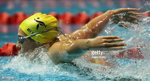 Stephanie Rice of Australia in action on her way to winning gold during the Women's 400m Individual Medley Final swimming at the Melbourne Sports...