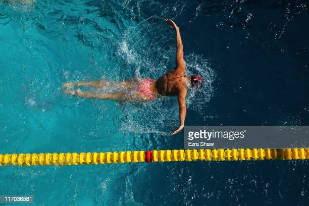 Stephanie Rice of Australia practices the butterfly in the practice pool during day 4 of the Santa Clara International Grand Prix at George F Haines...