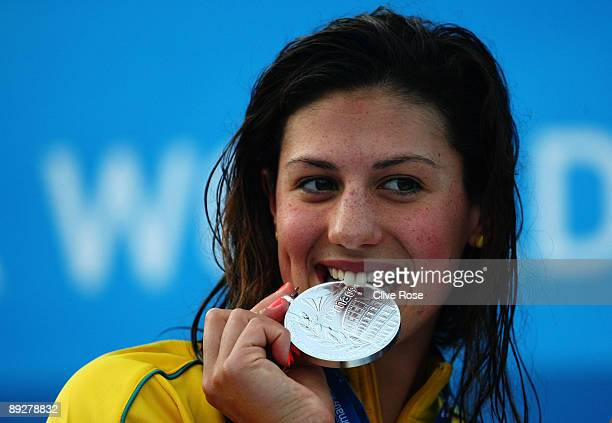 Stephanie Rice of Australia receives the silver medal during the medal ceremony for the Women's 200m Individual Medley Final during the 13th FINA...