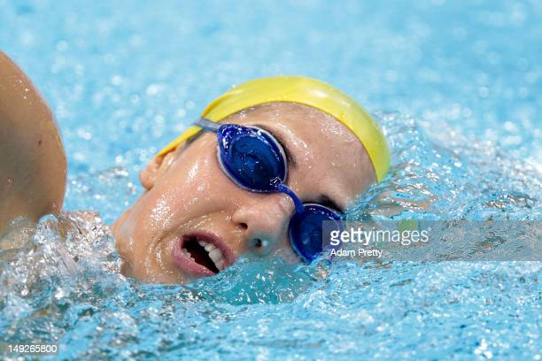 Stephanie Rice of Australia swims during a training session ahead of the London Olympic Games at the Aquatics Centre in Olympic Park on July 26 2012...