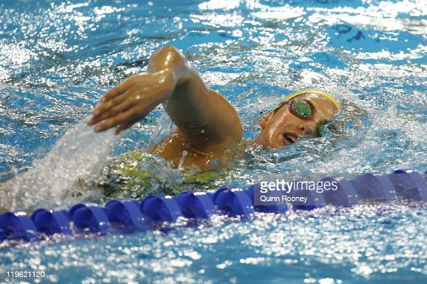 Stephanie Rice of Australia swims during a training session on Day Eight of the 14th FINA World Championships at the Crown Indoor Stadium on the...