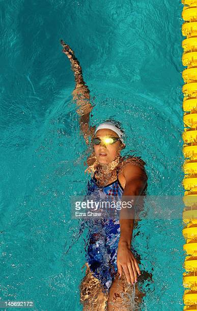 Stephanie Rice of Australia swims the backstroke in the warm up pool during day 4 of the Santa Clara International Grand Prix at George F Haines...