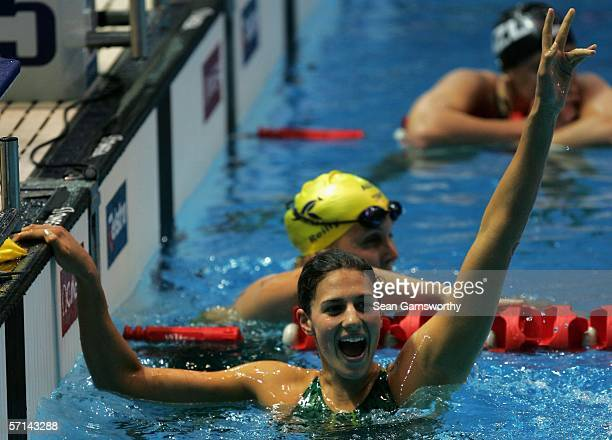 Stephanie Rice of Australia waves to the crowd after winning gold during the Women's 400m Individual Medley Final swimming at the Melbourne Sports...