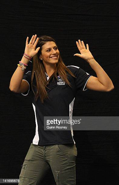 Stephanie Rice of Australia waves to the crowd during the official 2012 Australian Olympic Games Swimming Team Announcement at the South Australian...