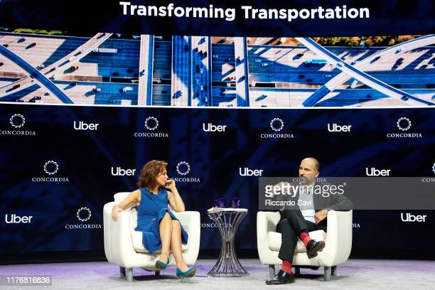 Stephanie Ruhle Anchor MSNBC and Dara Khosrowshahi CEO UBER speak onstage during the 2019 Concordia Annual Summit Day 2 at Grand Hyatt New York on...