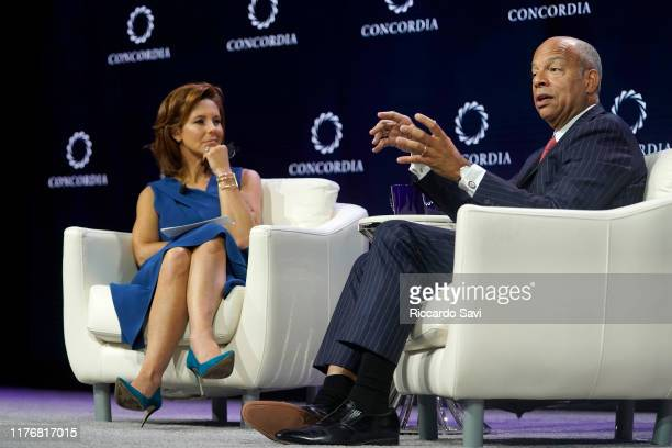 Stephanie Ruhle Anchor MSNBC and Jeh Johnson Former Secretary US Department Of Homeland Security speak onstage during the 2019 Concordia Annual...