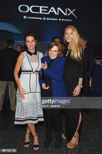 Stephanie Ruhle conservationist and author Sylvia Earle and Shari Sant Plummer attend the Launch Of OceanX a bold new initiative for ocean...