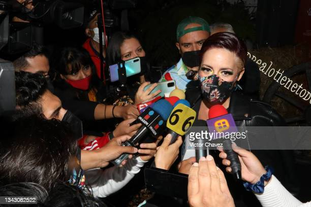 Stephanie Salas attends the presentation of the Fall/Winter collection by Andrea at TV Azteca Ajusco on September 26, 2021 in Mexico City, Mexico.