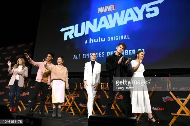Stephanie Savage Rhenzy Feliz Lyrica Okano Virginia Gardner Gregg Sulkin and Ariela Barer speak onstage at the Marvel's Runaways panel during New...