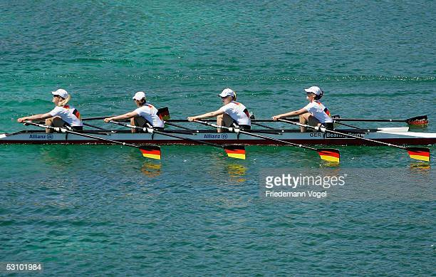 Stephanie Schiller, Jeannine Hennicke, Josephine Wartenberg and Susanne Herbrand of Germany in action during the Women's quadruple sculls of the...