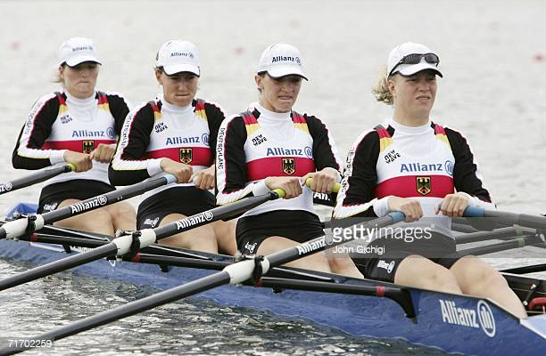 Stephanie Schiller, stroke, Jeannine Hennicke, Magdalena Schmude and Christiane Huth, bow, of Germany compete in the Women's Quadruple Sculls...