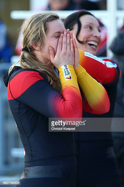 Stephanie Schneider and Anja Schneiderheinze of Germany show emotions after winning the third place of bob women competition during the FIBT Bob...