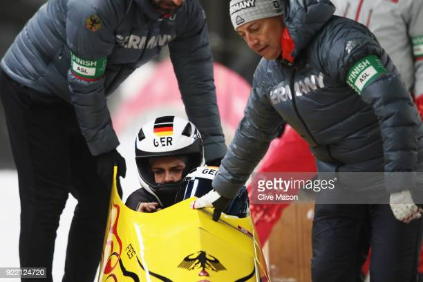 Stephanie Schneider and Annika Drazek of Germany react in the finish area during the Women's Bobsleigh heats on day twelve of the PyeongChang 2018...