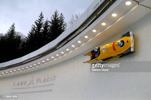 Stephanie Schneider and Deborah Levi of Germany slide during the second run of the two-woman bobsled race on day 1 of the 2019 IBSF World Cup Bobsled...