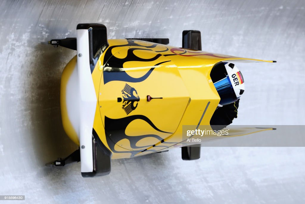 Stephanie Schneider of Germany in action during Bobsleigh practice ahead of the PyeongChang 2018 Winter Olympic Games at Olympic Sliding Centre on February 8, 2018 in Pyeongchang-gun, South Korea.
