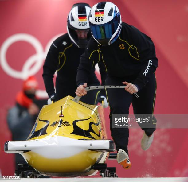 Stephanie Schneider of Germany trains during Bobsleigh practice ahead of the PyeongChang 2018 Winter Olympic Games at Olympic Sliding Centre on...