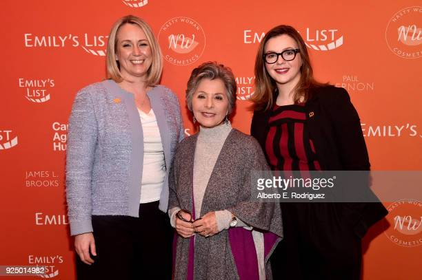 Stephanie Schriock President of EMILY's List Former US Senator Barbara Boxer and Amber Tamblyn attend EMILY's List PreOscars Brunch and Panel on...