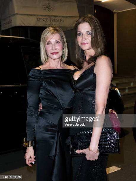 Stephanie Seymour and her mother Margaret are seen arriving to Versace dinner on Day 3 Milan Fashion Week Autumn/Winter 2019/20 on February 22 2019...