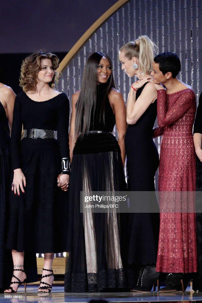 Stephanie Seymour, Naomi Campbell, Eva Herzegova and Nadege du Bospertus on stage during The Fashion Awards 2017 in partnership with Swarovski at Royal Albert Hall on December 4, 2017 in London, England.
