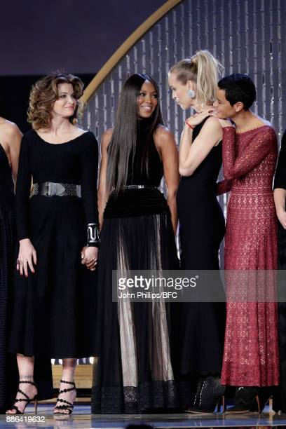 Stephanie Seymour Naomi Campbell Eva Herzegova and Nadege du Bospertus on stage during The Fashion Awards 2017 in partnership with Swarovski at Royal...