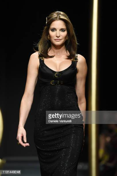 Stephanie Seymour walks the runway at the Versace show at Milan Fashion Week Autumn/Winter 2019/20 on February 22 2019 in Milan Italy