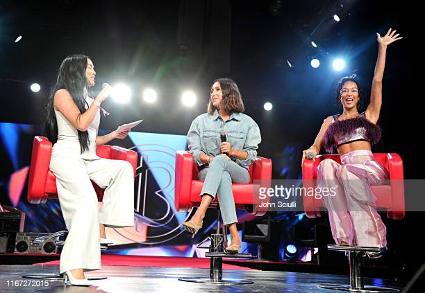 Stephanie Shepherd Jen Atkin and Draya Michele speak onstage during Beautycon Festival Los Angeles 2019 at Los Angeles Convention Center on August 10...