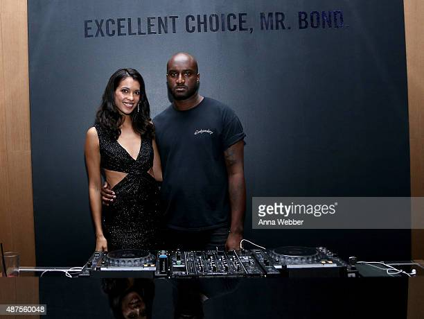 Stephanie Sigman and DJ Virgil Abloh attend Belvedere Vodka Celebrates Partnership With SPECTRE At One World Observatory on September 9 2015 in New...