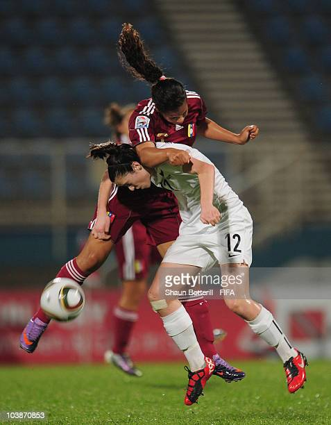 Stephanie Skilton of New Zealand is challenged by Yaribeth Ulacio of Venezuela during the FIFA U17 Women's World Cup Group C match between New...