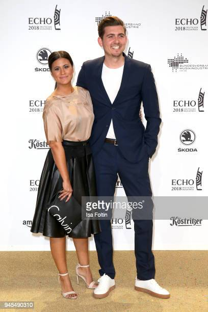 Stephanie Brungs and her boyfriend Christian Wackert arrive for the Echo Award at Messe Berlin on April 12 2018 in Berlin Germany