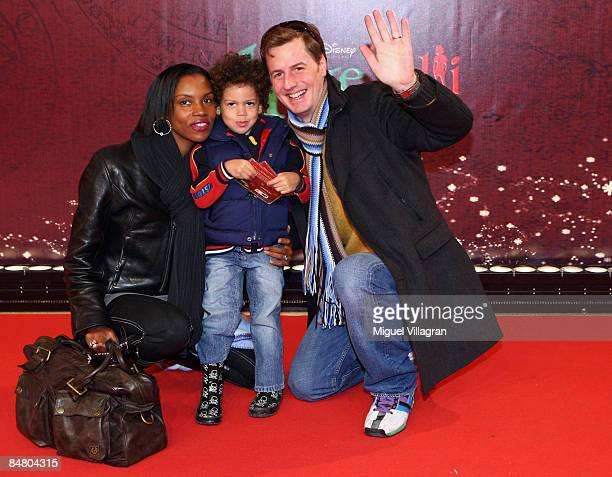 Stephanie Stewart Florian Simbeck and their son pose for the media during the premiere of the movie 'Lilli The Witch The Dragon And The Magical Book'...
