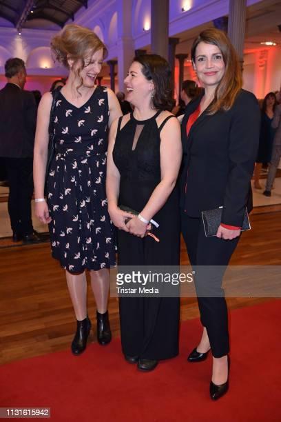 Stephanie Stremler, Esther Zimmering and Rebecca Immanuel attend the Deutscher Hoerfilmpreis on March 19, 2019 in Berlin, Germany.