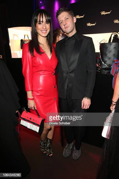 Stephanie Stumph and Aigner Chief designer Christian Beck during the Bambi Awards 2018 after party at Stage Theater on November 16, 2018 in Berlin,...