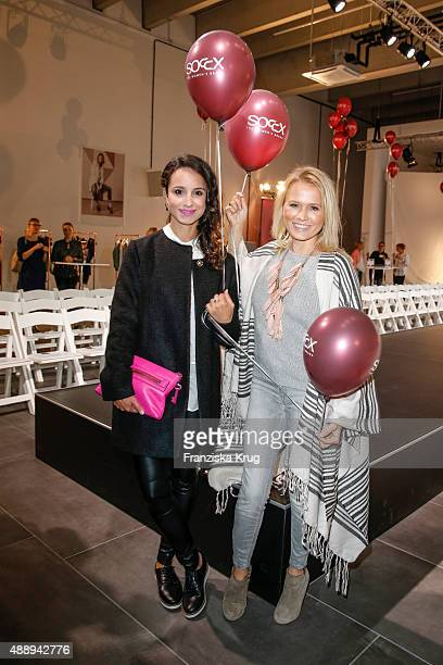 Stephanie Stumph and Nova Meierhenrich attend the 'La Boum Fashion Studio' by Soccx on September 18 2015 in Hoppegarten/ Berlin Germany