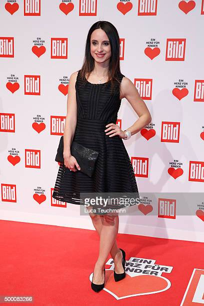 Stephanie Stumph arrives for the Ein Herz Fuer Kinder Gala 2015 at Tempelhof Airport on December 5, 2015 in Berlin, Germany.