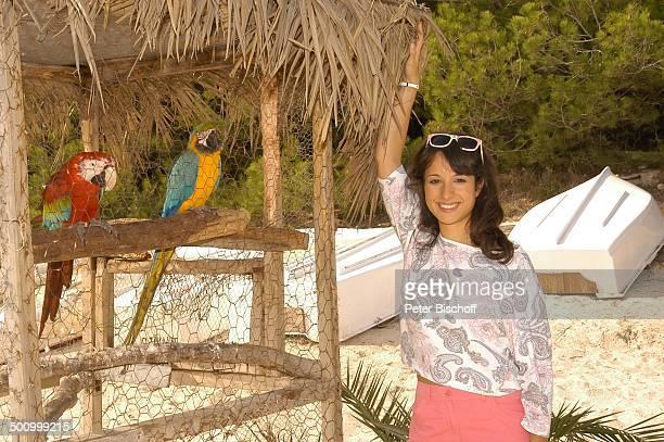 Stephanie Stumph Dreharbeiten zum 2teiligen ZDFFilm 'Die Muschelsucher' Cala dœOr Mallorca Spanien Europa PNr 1254/2005 UrlaubTier Papagei Strand...