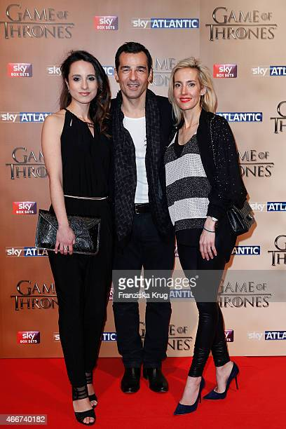 Stephanie Stumph Erol Sander and Caroline Goddet arrive at the Tower of London for the world premiere of Game of Thrones S5 which starts on April 12...