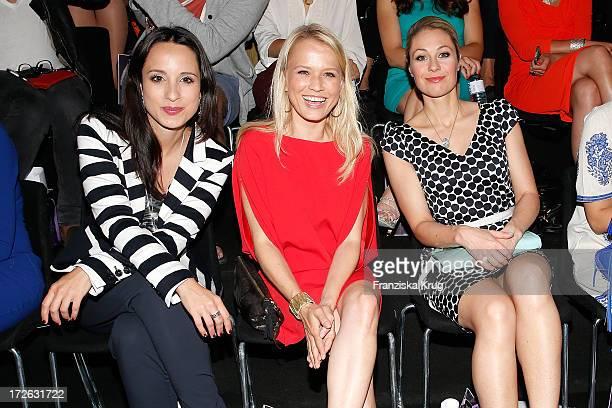 Stephanie Stumph Nova Meierhenrich and Ruth Moschner attend the Laurel Show during the MercedesBenz Fashion Week Spring/Summer 2014 at Brandenburg...
