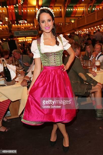 Stephanie Stumph wearing a dirndl by Daniel Fendler during the Oktoberfest 2015 at Schuetzenfestzelt beer tent at Theresienwiese on September 21,...