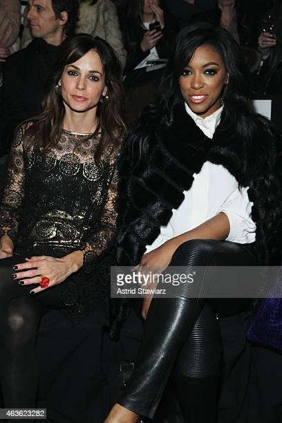 Stephanie Szostak and Porsha Stewart attend the Vivienne Tam fashion show during MercedesBenz Fashion Week Fall 2015 at The Theatre at Lincoln Center...